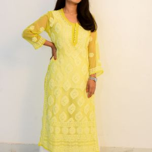 Buy Hand Embroidered Lucknowi Chikan Yellow Georgette Kurti